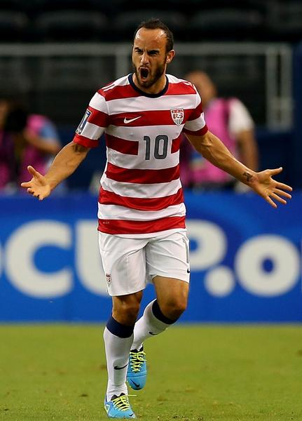 Landon Donovan celebrates his goal against Honduras during the CONCACAF Gold Cup semifinal match at Cowboys Stadium on Wednesday.