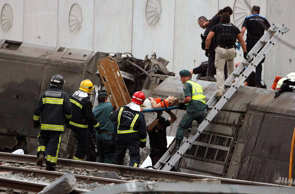 Passenger train derailment kills scores in Spain - Train derailment in Spain
