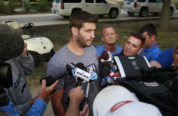 Bears quarterback Jay Cutler speaks with reporters after arriving for training camp on Wednesday.