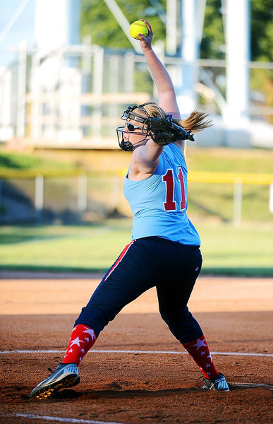 Halfway's Emily Talbert delivers a pitch against South Maryland on Wednesday during the Maryland State Junior Softball tournament. Halfway advanced to the finals with a 6-3 win.