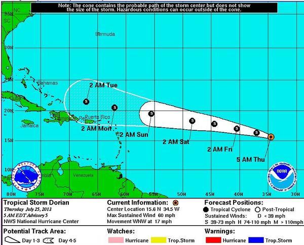 Tropical Storm Dorian continues to churn westward.