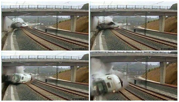 A composite image of CCTV footage shows the moment that the train derailed outside the north-western Spanish city of Santiago de Compostela.