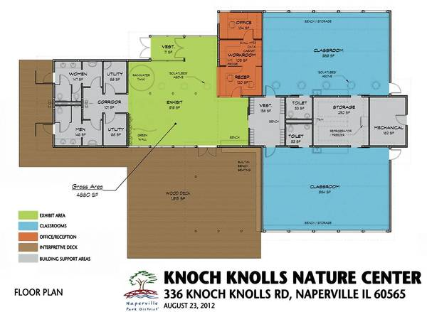 Floor plan of the new Knoch Knolls Park nature center, slated to open in the summer of 2014.