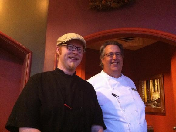 Chef Phillip Holcombe and chef-owner Jim Kennedy at Dudley's Bistro
