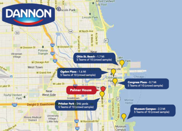 Dannon's free yogurt sampling will take place at these five downtown areas--Ohio Street Beach, Ogden Plaza, Congress Plaza, Pritzker Park and Museum Campus.