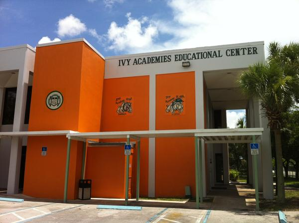 Ivy Academies Charter Schools had planned to open in August at the Lauderdale Lakes site of the former Eagle Academy. But commissioners next week will consider rezoning the property for business uses that dont include schools. The school did not check with the city before leasing space - or before painting the building a bold orange thats not on the citys color palette. Photo/Larry Barszewski , South Florida Sun Sentinel