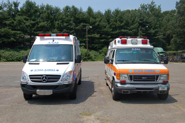 Mercedes Sprinter ambulance, left. and Ford ambulance. Ambulance Service of Manchester has almost completed a fleet change from the Fords to the Mercedes emergency vehicles.