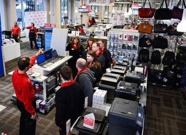 Boca Raton-based Office Depot has been trying to attract younger customers with interactive displays in the retail stores where they can try out tablets, headphones and other gadgets.