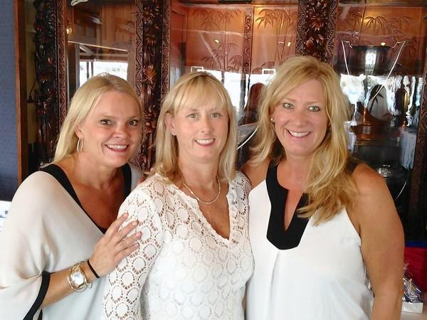 Leslie Shannon chair of the 2013 White Party joins volunteer Molly Calder and Kirsten Potter raising funds for the Newport Harbor Sailing Foundation.