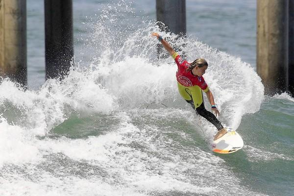 Courtney Conlogue competes during Round 3 of the women's division at the 2013 Vans US Open of Surfing in Huntington Beach on Thursday.