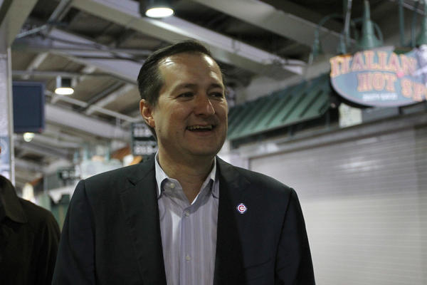 Chicago Cubs chairman Tom Ricketts arrives for a press conference at Wrigley Field detailing changes at the ballpark.
