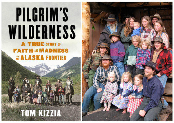 "The cover of ""Pilgrim's Wilderness"" and a photo of the Pilgrim family."