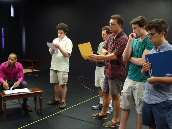 "From left, Eric Porter (Sexton), Alex Foley (Dogberry), Deryl Davis (Verges), Stephen Horst (Borachio), Tim Torre (Conrad) and Ben Lauer (Watchan) rehearse for the Annapolis Shakespeare Company's 1950s-era production of ""Much Ado About Nothing"" opening Aug. 2 at Bowie Playhouse"