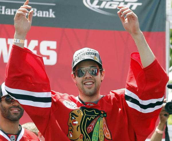Blackhawks goalie Corey Crawford on stage during the Stanley Cup celebration rally.
