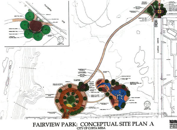 A conceptual plan for a new parking lot and play area within Costa Mesa's Fairview Park from the end of Pacific Avenue, as well as a trail from the lot to the end of Canyon Drive.