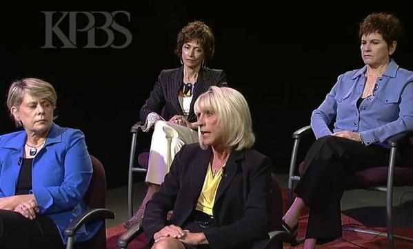 Four more San Diego women came forth accusing Mayor Bob Filner of sexual advances. From left are retired Navy Rear Admiral Veronica Froman; Joyce Gattas, dean of the College of Professional Studies and Fine Arts at SDSU; Sharon Bernie-Cloward, president of the San Diego Port Tenants Assn.; and Patti Roscoe, a prominent businesswoman.