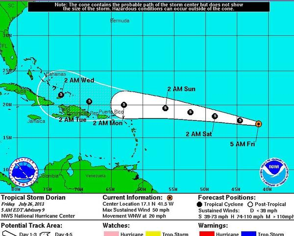 Tropical Storm Dorian slowed to 50 mph Thursday night but increased its forward speed to 20 mph.