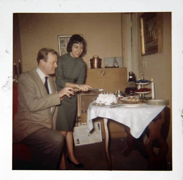 A photograph of a photo of Mona Abboud, now 77, is pictured with her friend and television actor Franklin Cover in the early 60s in her New York apartment at 527 E. 72nd St. in New York. Abboud's neighbor was George Plimpton, the creator of the Paris Review.