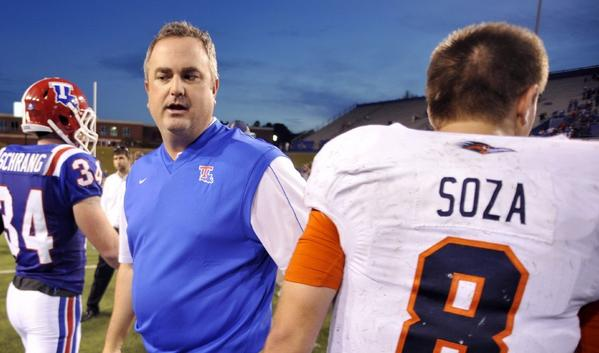 New California Coach Sonny Dykes on the Louisiana Tech sideline in 2012.