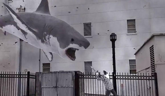 "Ian Ziering takes on a flying shark in ""Sharknado."""