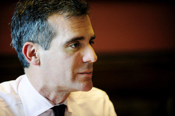 Eric Garcetti, who was sworn in as the 42nd mayor of Los Angeles on June 30, sits at his desk in City Hall on July 9.