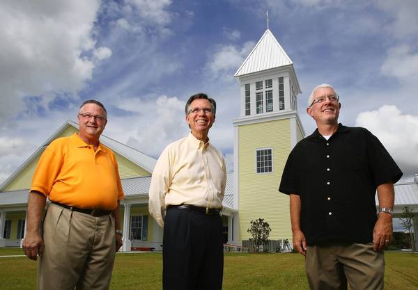 Pastors Greg Brooks, left, Bob Perry and Charles Foster, right of First Baptist Church at the Villages will conduct services in their new church this September, which can hold up to 1,000 people.