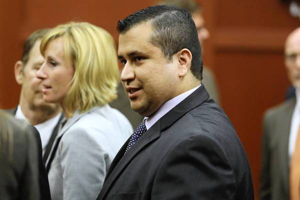 SANFORD, FL - JULY 13: George Zimmerman leaves the courtroom a free man after being found not guilty, on the 25th day of his trial at the Seminole County Criminal Justice Center July 13, 2013 in Sanford, Florida. Zimmerman was charged with second-degree murder in the 2012 shooting death of Trayvon Martin. (Photo by Joe Burbank-Pool/Getty Images) ORG XMIT: 173521643 ** TCN OUT **