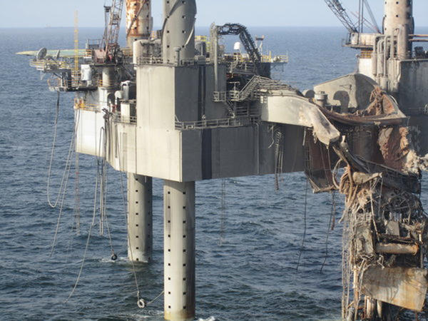 This image provided by the Bureau of Safety and Environmental Enforcement shows the aftermath of the fire at the Hercules 265 gas well off Louisiana in the Gulf of Mexico.