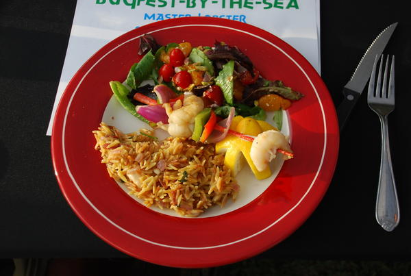 Gold Coast Scuba's entry in Thursday's BugFest-By-The-Sea Master Lobster Chef Competition was lobster chunks and vegetables on a lobster antenna as a skewer accompanied by lobster orzo and a salad.