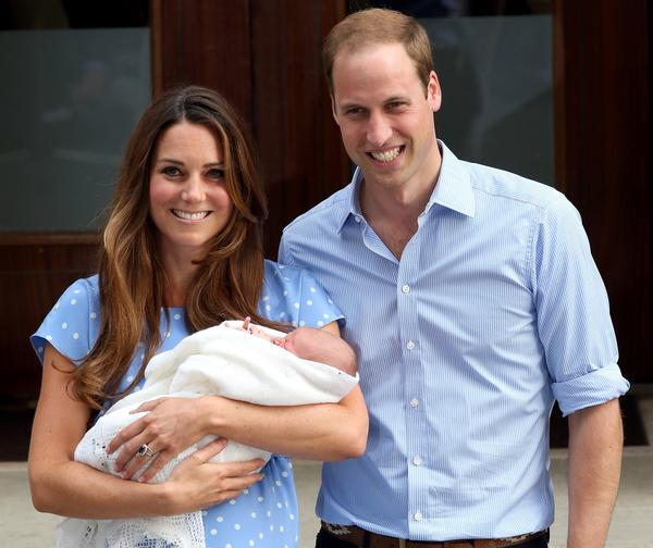 Prince William, Duke of Cambridge and Catherine, Duchess of Cambridge, depart St. Mary's Hospital in London on July 23 with their son, Prince George.