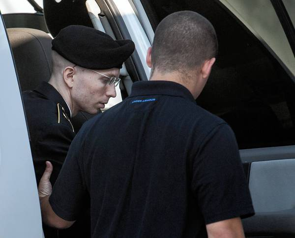 Army Pfc. Bradley Manning arrives at court at Ft. Meade, Md., for closing arguments in his case.