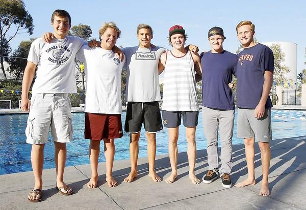 From left, Evan Zoernack, Ben Zepfel, Reid Chase, Colby Watson, Jake Wyatt and Jack Harryman are members of the CdM Grey team in the USA Water Polo Junior Olympics that begins Saturday.