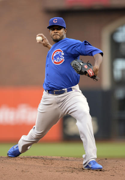Cubs starting pitcher Edwin Jackson pitches in the bottom of the first inning against the Giants at AT&T Park.