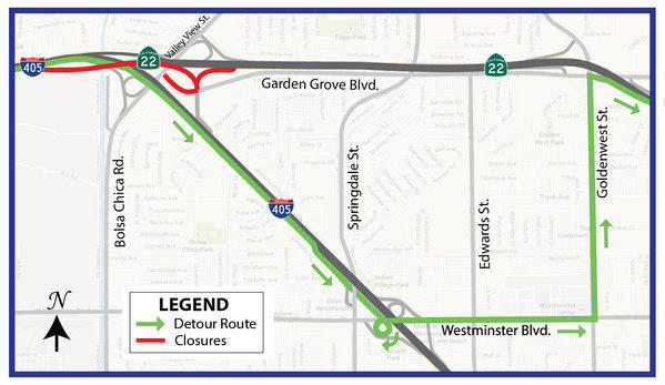 A connector that links the southbound 405 Freeway to the eastbound 22 Freeway will close this weekend for lane restriping and to allow traffic to be switched from the existing connector to a new bridge.