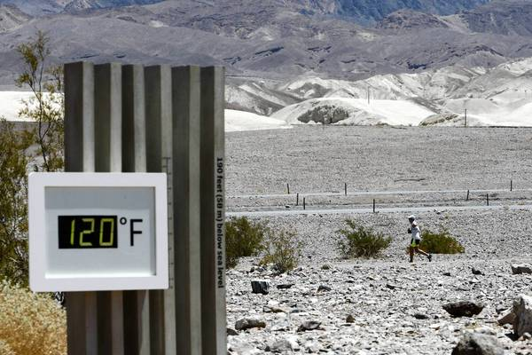 A thermometer in California's Death Valley National Park read 120 degrees during a July 15 ultra-marathon race.