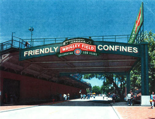 A rendering of a potential Wrigley Field patio deck over Sheffield Ave. A 650-square-foot sign would be located at the rear of the deck.