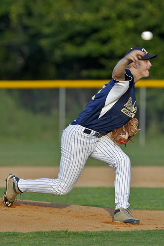 Williamsburg Post 39 pitcher Matt Smith delivers the ball during Friday evening's game against Post 368 at Warhill High School.