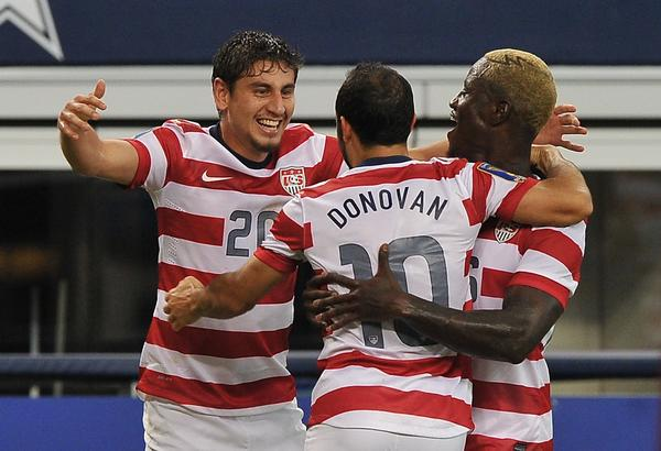 Landon Donovan (center) of the US celebrates after scoring against Honduras with Alejandro Bedoya (left) and Eddie Johnson during a Gold Cup semifinal at Cowboys Stadium in Arlington, Texas, on July 24.