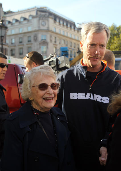 Chicago Bears owner Virginia McCaskey and team chairman George McCaskey during an NFL fan pep rally at Trafalgar Square in London on Saturday, Oct. 22, 2011.