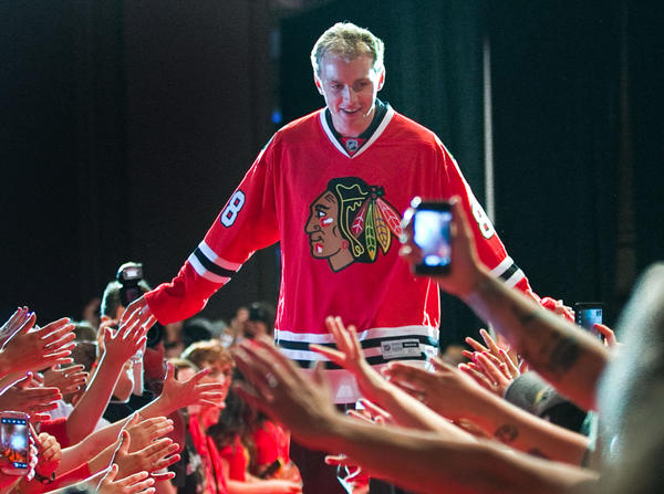 Patrick Kane is welcomed during the opening ceremonies of the Blackhawks Convention on Friday.