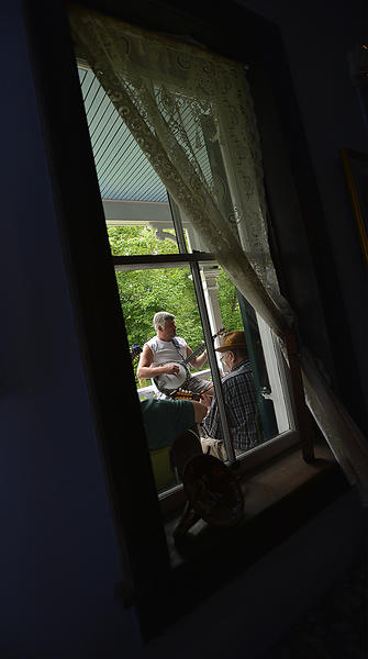 Old-style Bluegrass Porch Pickin' on the porch of the historic Bowles House.