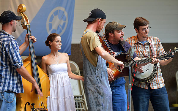 Hillbilly Gypsies perform Saturday during the Music by the Lake summer concert series at the Peter Buys Band Shell at City Park. From left are, Ryan Cramer, Jamie Lynn Buckner, Ty Jaquay, Trae Buckner, and Dave Asti.