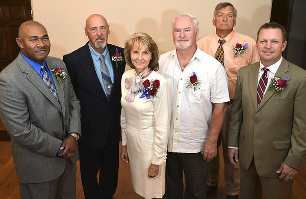 The Washington County Sports Hall of Fame inducted its Class of 2013, which included (from left) Dwayne Freeman, Jim Kline, Maria Grosz Pope, Paul Barr (who accepted the award for his father, Ed), Steve Berry and Jim Schlossnagle.