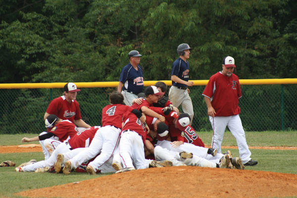 The Funkstown baseball team celebrates after winning the Maryland American Legion state title on Saturday in a 6-2 victory over Damascus.