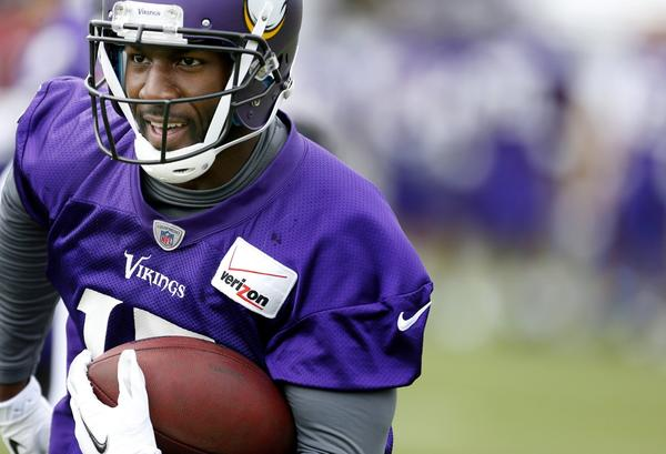 Minnesota Vikings wide receiver Greg Jennings during practice on Saturday.