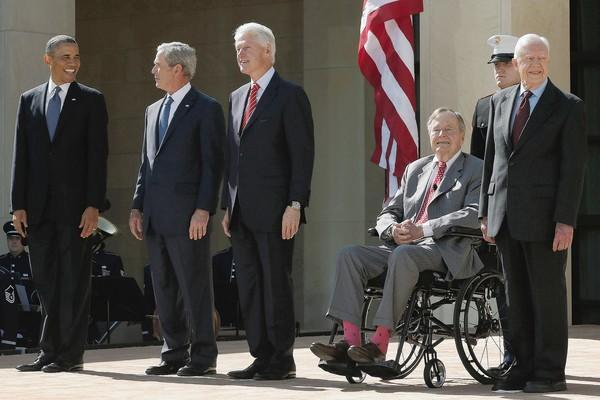 The five living most-recent presidents attend the opening of the George W. Bush Presidential Center in April in Dallas.