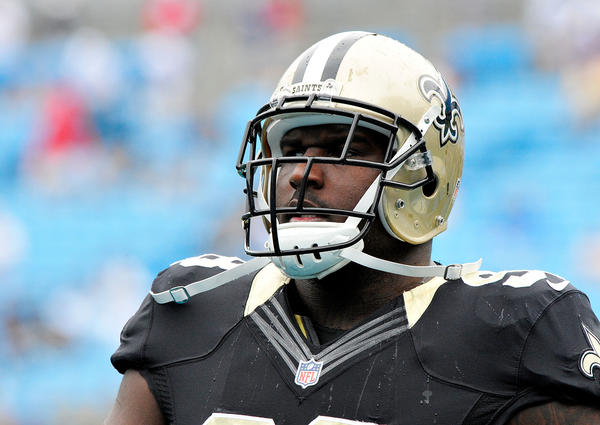Sedrick Ellis of the New Orleans Saints during a game against the Panthers.