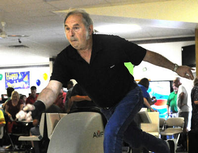 Victor Latuch of Somerset gets in some practice throws at the 22nd annual Pennsylvania State Bowling Association Mixed Championships on Sunday at Terrace Lanes in Somerset.