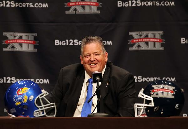 Kansas Jayhawks head coach Charlie Weis speaks to the media during the Big 12 media days at the Omni Dallas Hotel.