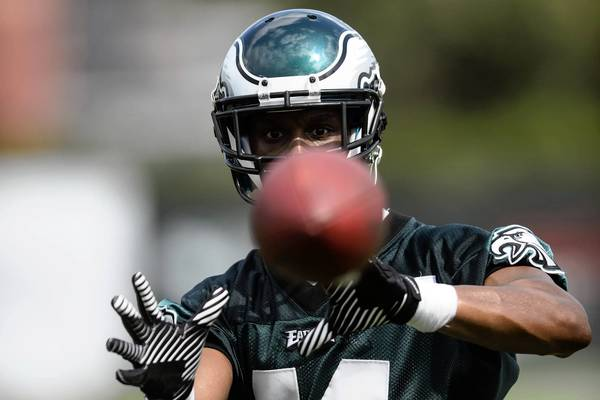 Philadelphia Eagles wide receiver Russell Shepard catches a ball during training camp at the Eagles NovaCare Complex.